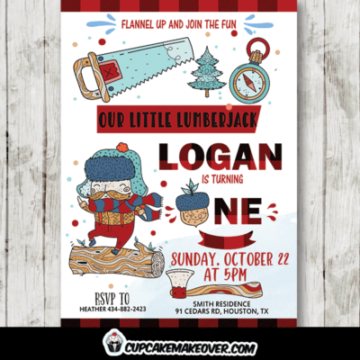 Cute Doodles Lumberjack Birthday Invites wild one party ideas