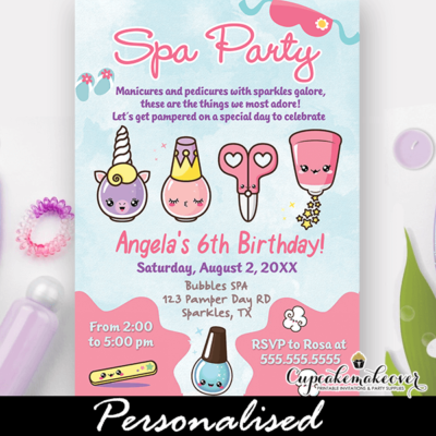 Cute Little Girls Spa Party Birthday Invitations
