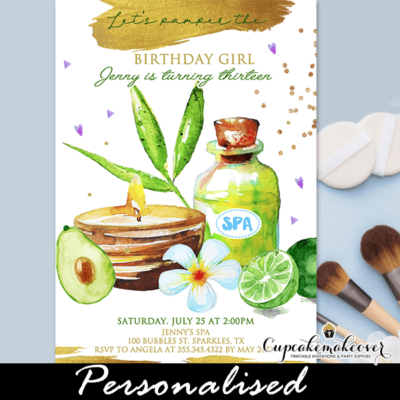 Day Spa Party Invites, Beauty Parlor Birthday