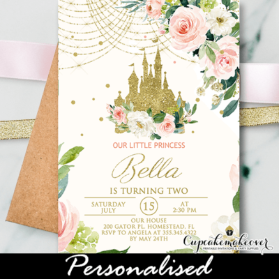Floral Pink Gold Castle Princess Birthday Invite