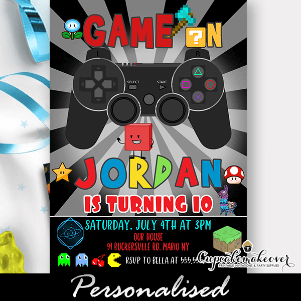 Gamer Party Invites Video Game Birthday Cupcakemakeover