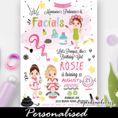 Glam Girls Spa Birthday Party Invitation manicure pedicure facials makeup