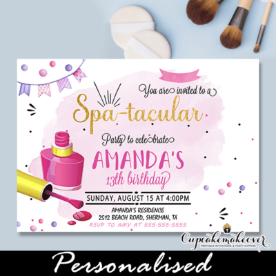 Glam Spa-tacular Pedicure Manicure Party Invitations