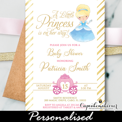 Gold Foil Princess Baby Shower Invites pink royal carriage Cinderella