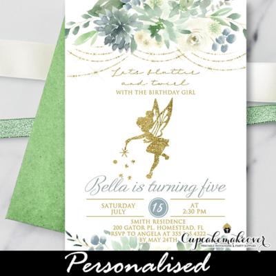 Greenery Succulents Fairy Birthday Invitation