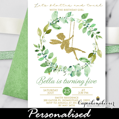Greenery Wreath Fairy Birthday Invitation