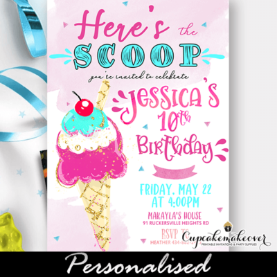 Here's The Scoop Ice Cream Party Invitations