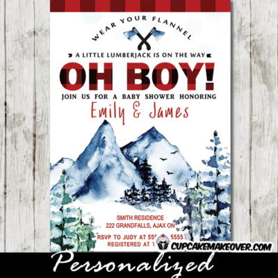 Lumberjack Baby Shower Invites, Mountains Wilderness