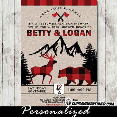 Rustic Lumberjack Baby Shower Invite, Buffalo Plaid Moose Bear