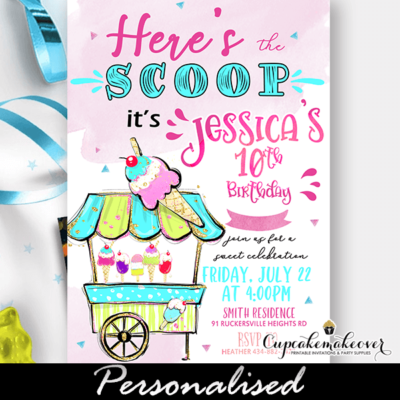 Sweet Shoppe Ice Cream Social Invitations