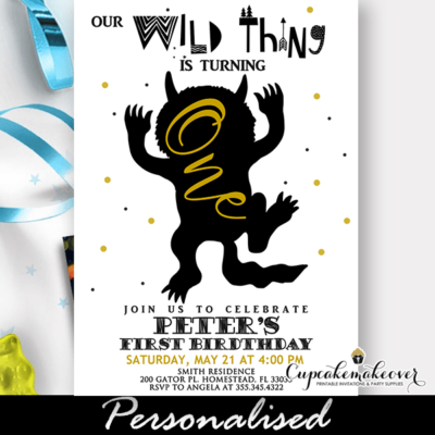 Where The Wild Things Are Invitations, Wild One Birthday