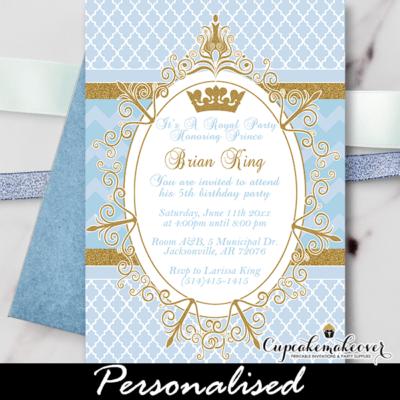 Royal Prince Birthday Invitation, Blue Gold