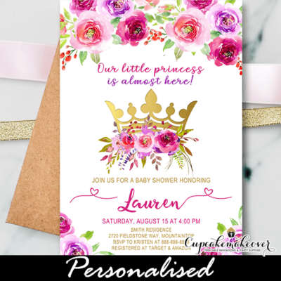 Crown Baby Shower Invitations, Floral Pink Gold princess theme