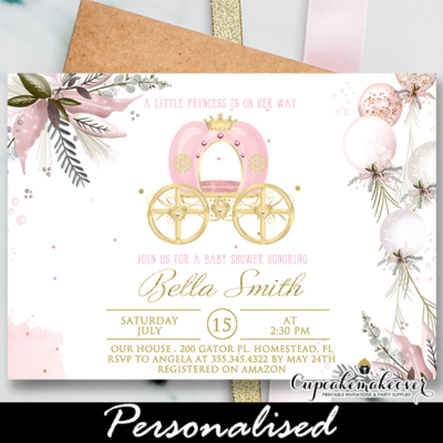 Elegant Royal Carriage Princess Baby Shower Invites, Gold Pink