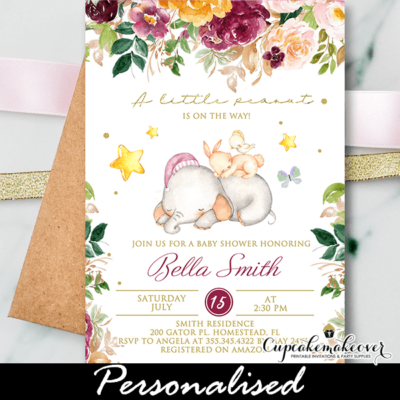 Blossom Garden Burgundy Blush Baby Shower Elephant Invitations