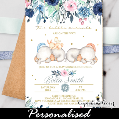 Blossom Garden Navy Pink Twins Baby Shower Elephant Invitations