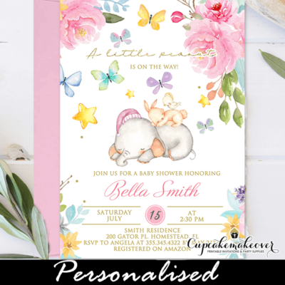 Blossom Garden Pink Peonies Baby Shower Elephant Invitations