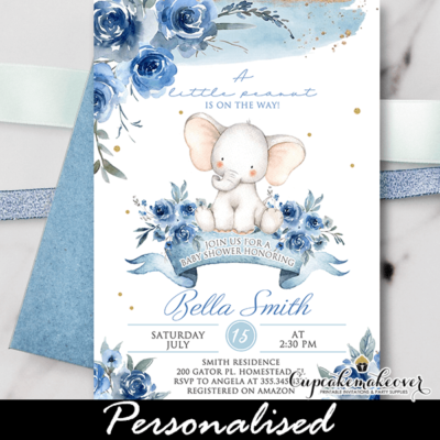 Floral Blue Baby Shower Elephant Invitations