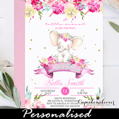 Floral Pink Baby Shower Elephant Invitations girl
