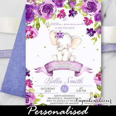 Floral Purple Baby Shower Elephant Invitations girl