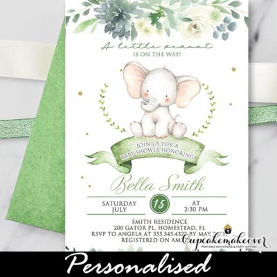 Succulent Floral Gender Neutral Baby Shower Elephant Invitations