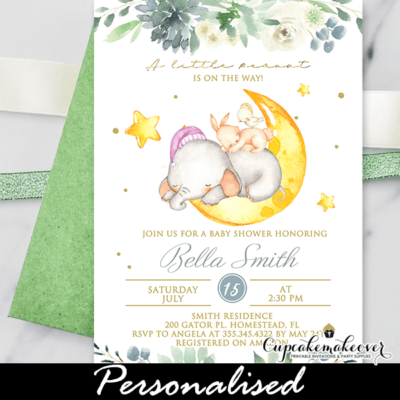 Succulent Floral Girl Baby Shower Elephant Invitations