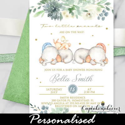 Succulent Floral Twins Baby Shower Elephant Invitations