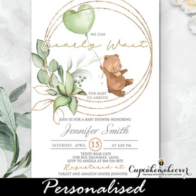 Gender Neutral Teddy Bear Baby Shower Invitations, Green Balloon