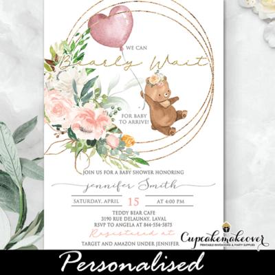 Teddy Bear Baby Shower Invitations, pink Balloon girl invite template