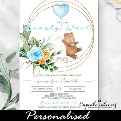 Teddy Bear Baby Shower Invitations, Blue Balloon boy invite template