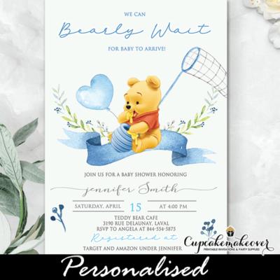 Winnie The Pooh Baby Shower Invitations blue balloons teddy bear