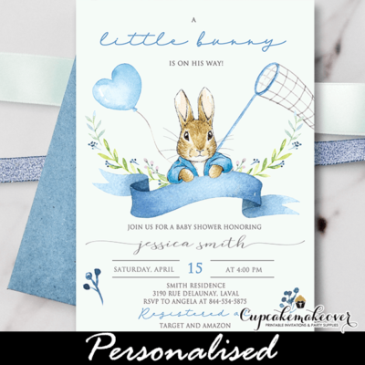 Blue Peter Rabbit Baby Shower Invitation boy theme bunny