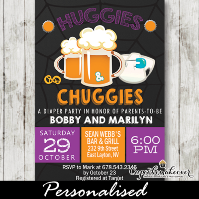 Halloween Huggies and Chuggies Invites Diapers and Beer Baby Shower