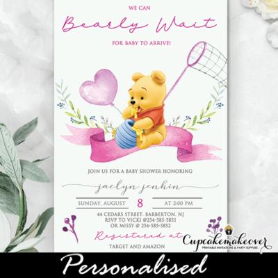 Girl Winnie The Pooh Baby Shower Invites, Pink Heart Balloon